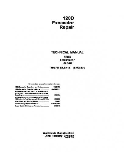 PDF DOWNLOAD JOHN DEERE 120D EXCAVATOR REPAIR SERVICE TECHNICAL MANUAL TM10737