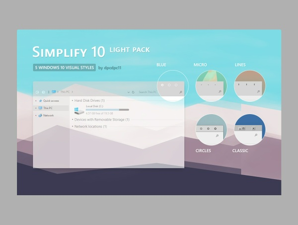 Simplify 10 Light - Windows 10 Themes Pack