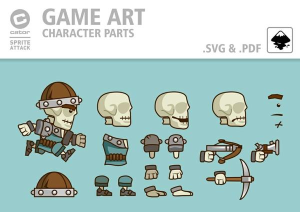 Skeleton character parts & frames