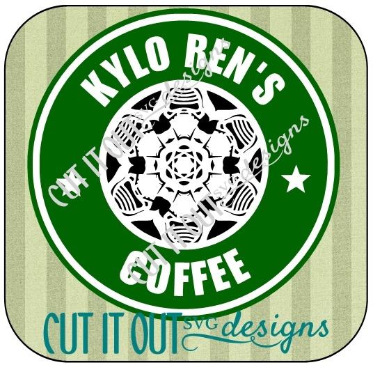 Star Wars: The Force Awakens Kylo Ren Snowflake Style Starbucks Coffee Labels SVG