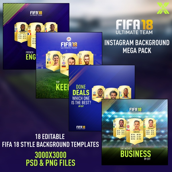 FIFA 18 INSTAGRAM BACKGROUNDS MEGA PACK