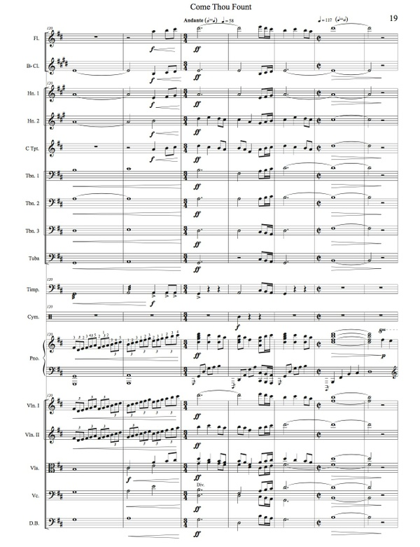 Come Thou Fount - Piano Solo with Orchestra - Orchestral Score/Parts