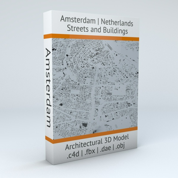 Amsterdam Streets and Buildings Architectural 3D Model
