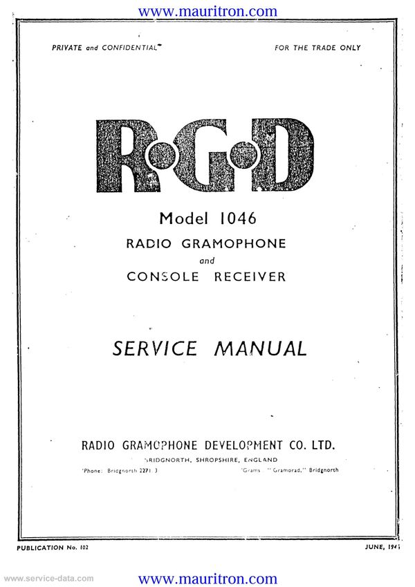 RGD 1046 Service Manual