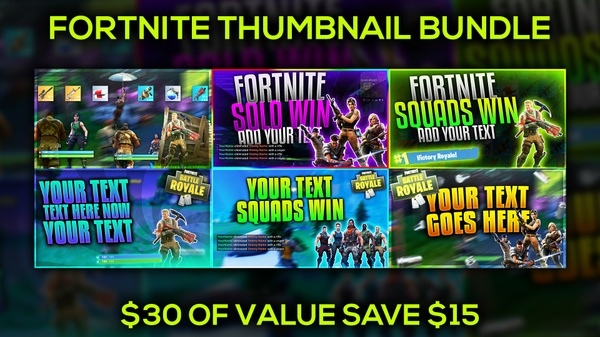 Fortnite Thumbnail Template Bundle Pack