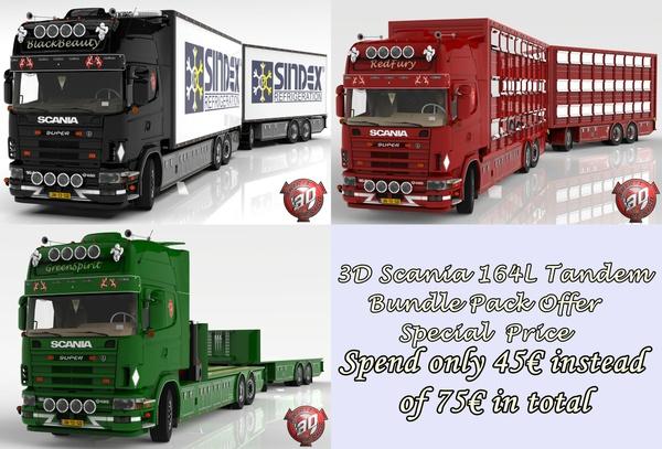 3D Scania 164L Tandem + Trailer Bundle Pack Offer