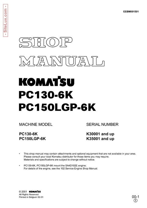 Komatsu PC130-6K, PC150LGP-6K Hydraulic Excavator Shop Manual - EEBM001501