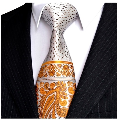 B Royal Designs Gold-White Elegant Tie with Hankie (Shipping included)