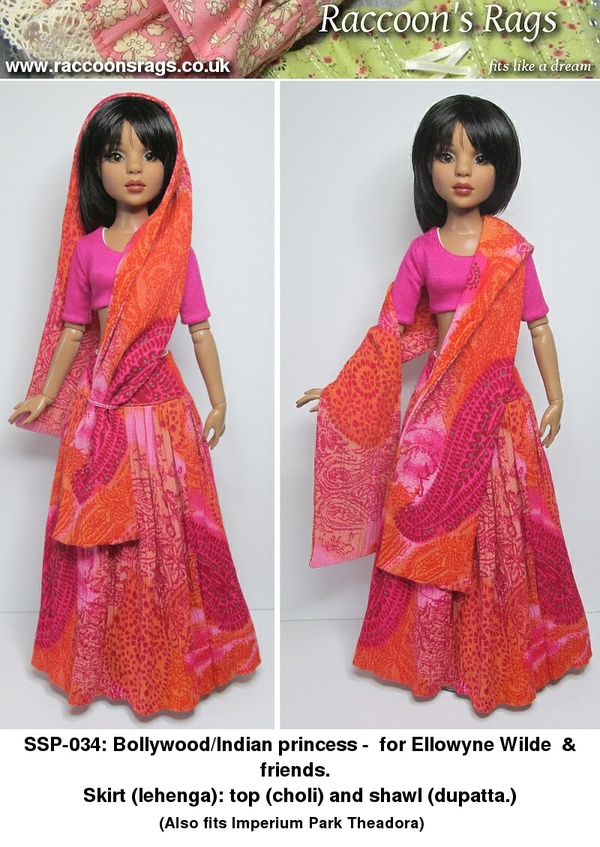 SSP-034: Bollywood style outfit, skirt, top, shawl, for Ellowyne Wilde & friends.