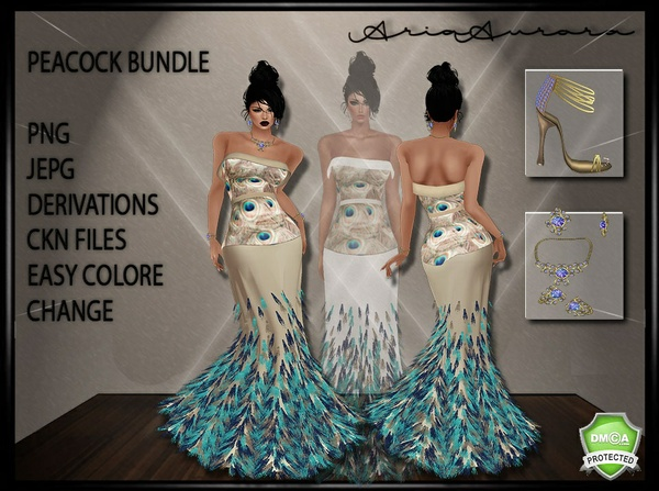 Peacock Feather Gown Bundle,,  Resell Right Limited to 5 People! 3/5 ONLY 2 LEFT!!