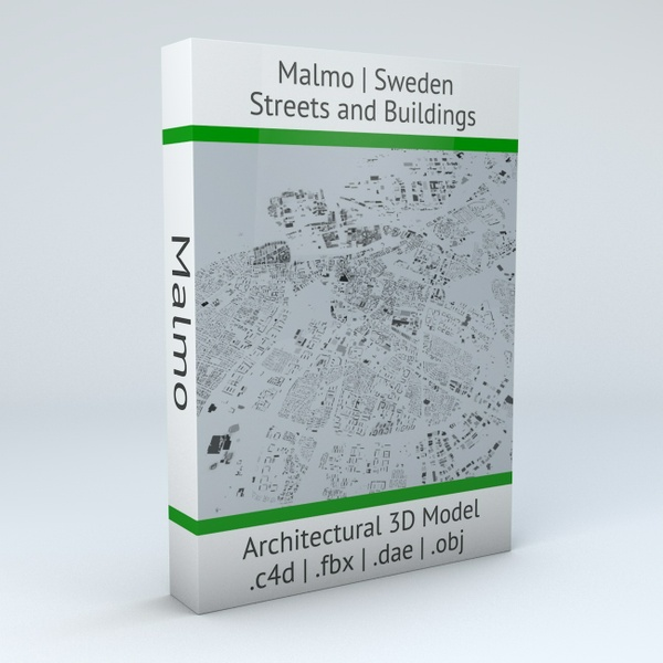 Malmo Streets and Buildings Architectural 3D Model
