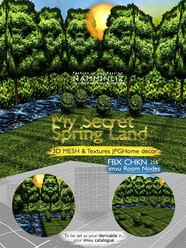 My Secret Spring land 3D Mesh & Textures JPG Home decor FBX CHKN