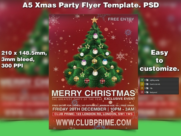 X-mas Flyer Template 10 (A5 PSD)