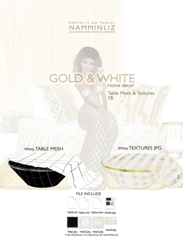 Gold & White imvu Table mesh & texture JPG, XSF, XMF, CHKN files