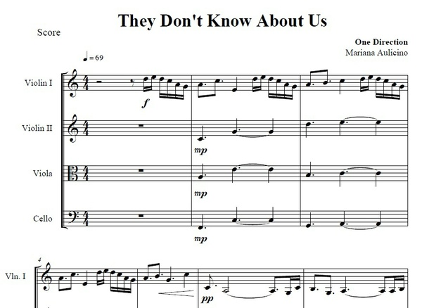 They Dont Know About Us - One direction - String quartet