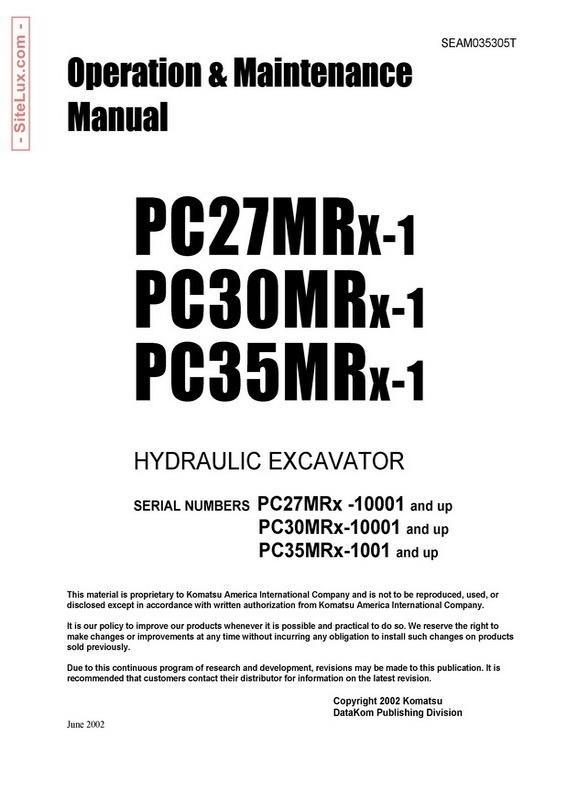 Komatsu PC27MRX-1, PC30MRX-1, PC35MRX-1 Hydraulic Excavator OM Manual - SEAM035305T