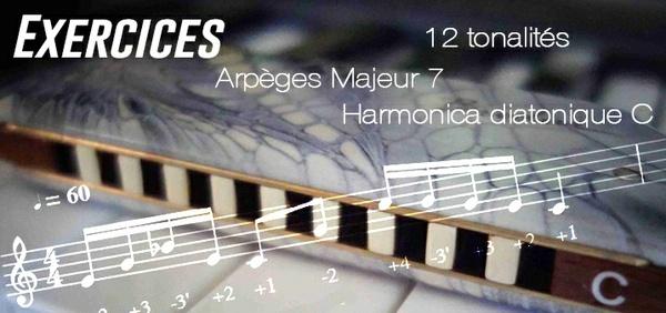 Exercices - Arpèges Majeur 7 - 12 Tonalités - transposé (Musescore) - Harmonica diatonique