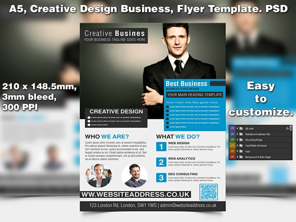 Creative Design Business Flyer Template (A5 PSD)
