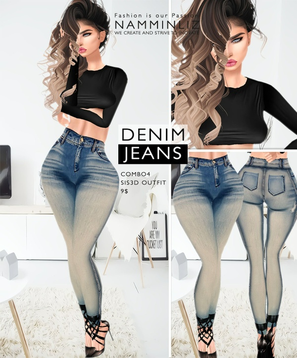 Denim Jeans combo4 imvu Sis3d outfit Jeans & Top