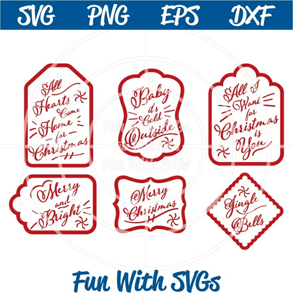 Merry and Bright Christmas Tags, PNG, EPS, DXF and SVG Cut File, High Resolution Printable Graphics