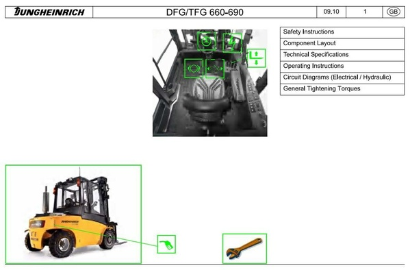 Jungheinrich Fork Truck Type DFG 660/690, TFG 660/690 from 11.2008 Workshop Manual
