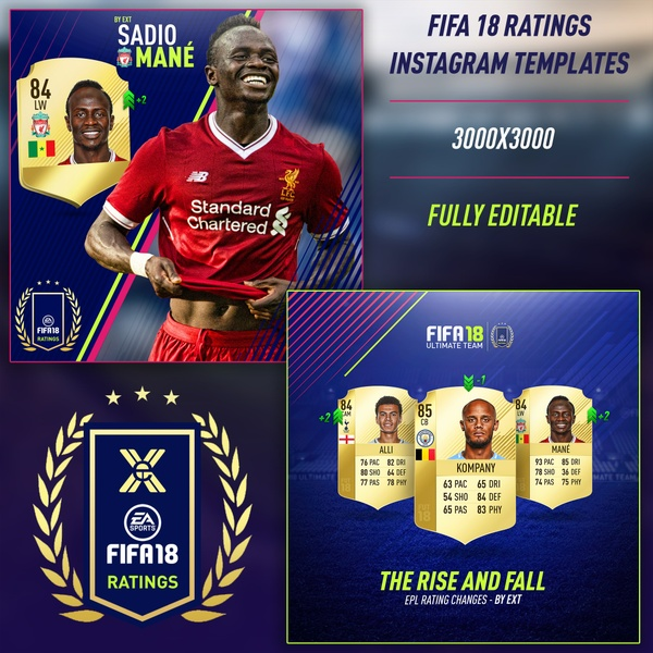 FIFA 18 RATINGS INSTAGRAM TEMPLATES
