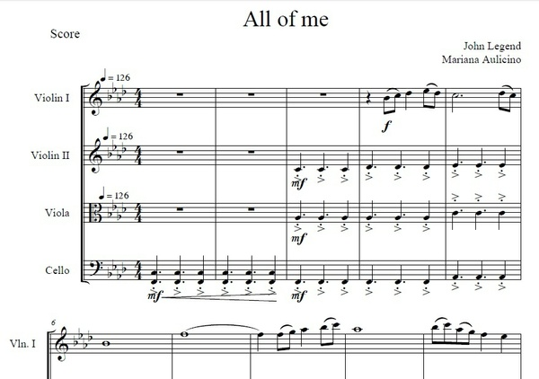 All Of Me - John Legend - String Quartet
