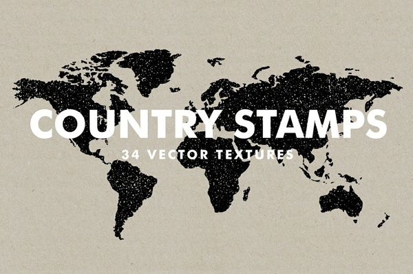 Vector Country Stamps - 34 Items