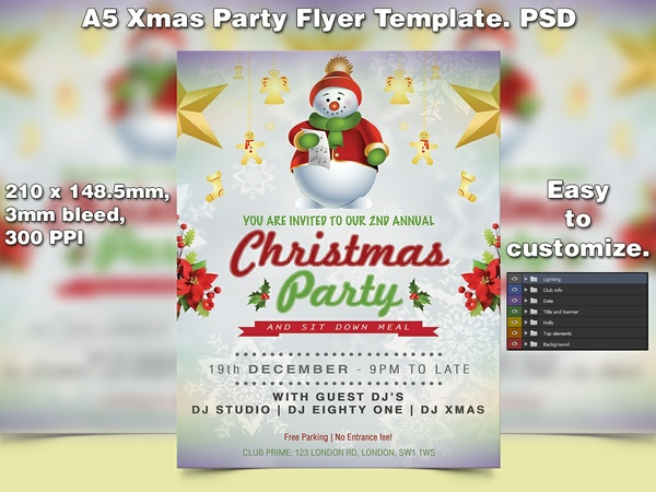 X-mas Flyer Template 9 (A5 PSD)