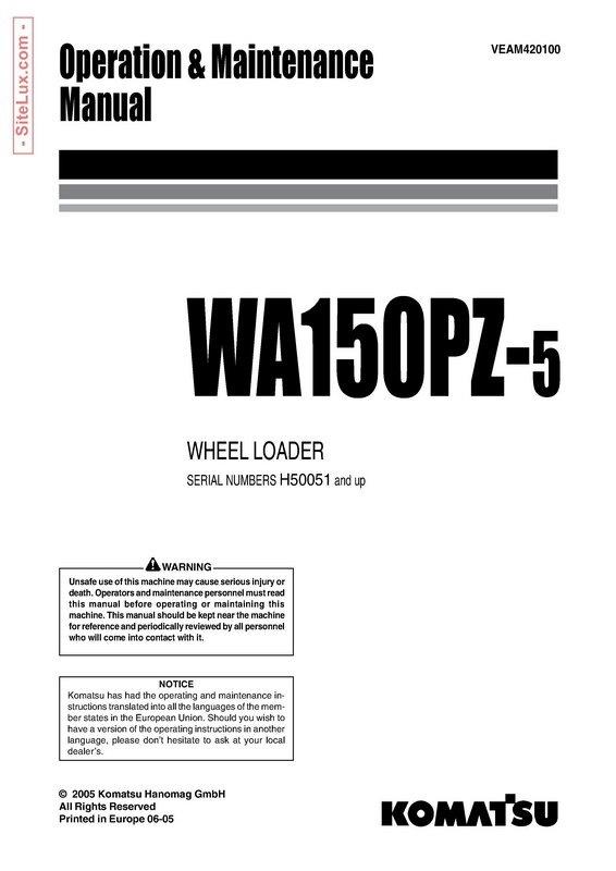 Komatsu WA150PZ-5 Wheel Loader Operation & Maintenance Manual - VEAM420100