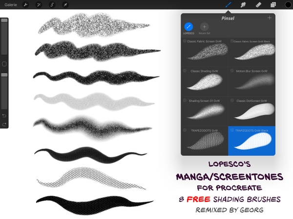 FREE: 8 Manga/Screen Tone Brushes for Procreate by Lopesco (Georg's Remix 2016)