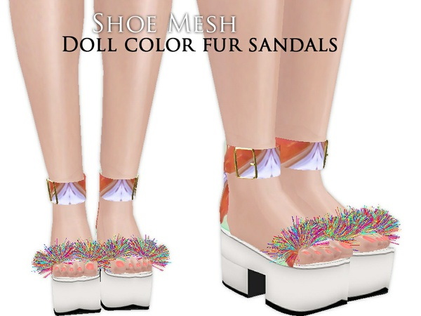 IMVU Mesh - Shoes - Doll Color Fur Sandals