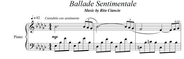 """Ballade Sentimentale"" - Rita Ciancio (Piano Sheet Music)"
