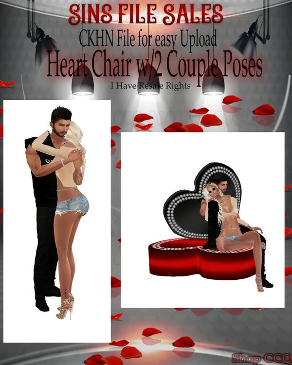 ♥Heart Chair Mesh w/2 Cpl Poses* CHKN