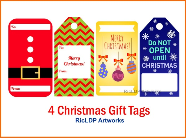 Four Christmas Gift Tags