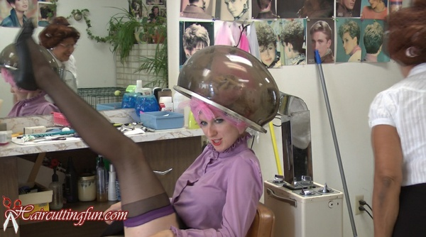 Kat Under Hair Dryer with Hair in Tip Top & Other Metal Curlers - VOD Digital Video on Demand