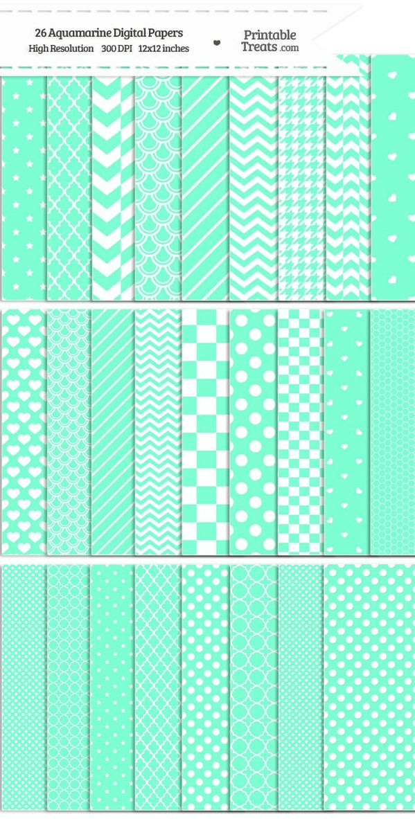 26 Aquamarine Digital Paper Set Password