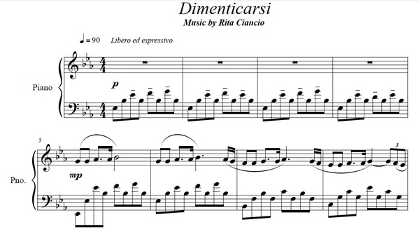"""""""Dimenticarsi"""" - Rita Ciancio (Piano Sheet Music)"""