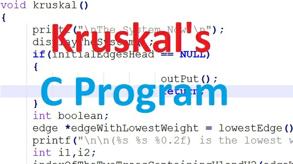 Kruskal's c program with input and output