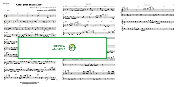 Can't Stop The Feeling - Justin Timberlake - Keyboard or Violin - Sheet Music