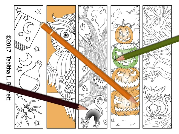 Halloween Coloring Bookmarks JPG Set 2