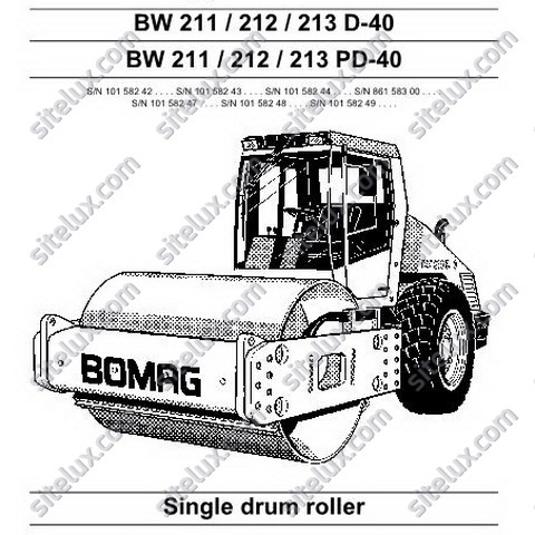 Bomag BW 211/212/213 D-40/PD-40 Single Drum Roller Operation & Maintenance Instructions