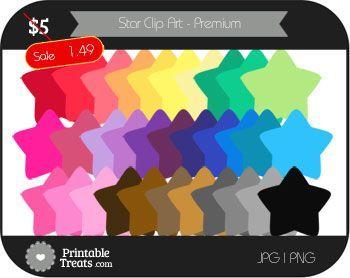 Star Digital Clip Art in Rainbow Colors - Premium