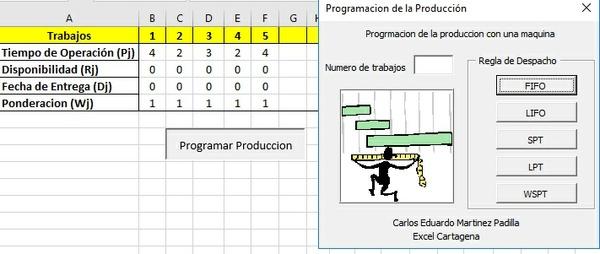 App para programar la produccion en Excel