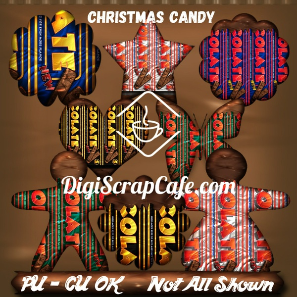 Christmas Candy Chocolate wrapped CU Clip Art