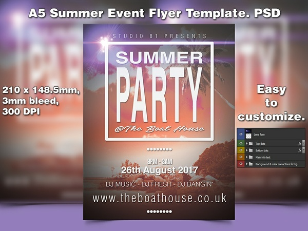 A5 Summer Event PSD Flyer Template 2