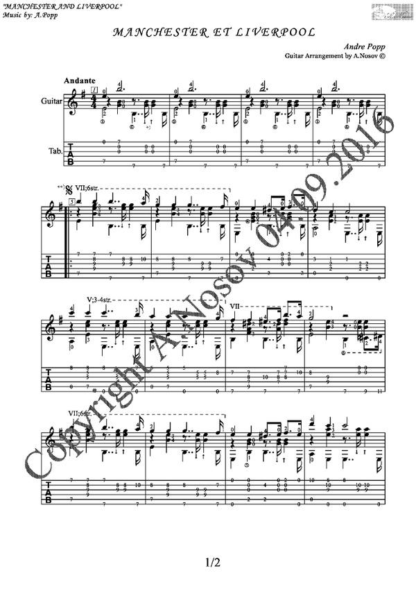 Manchester et Liverpool (A.Popp) Sheet music for guitar