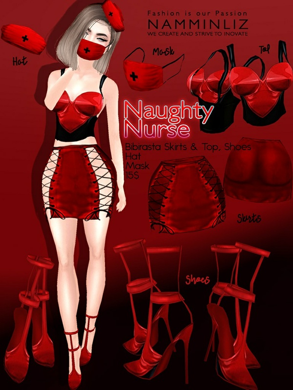 Naughty Nurse imvu texture JPG (Bibirasta Top Skirts Shoes, Hat, Mask) NAMMINLIZ File sale
