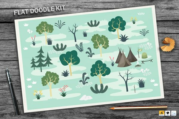 Forest Flat Doodle Kit - PWYW