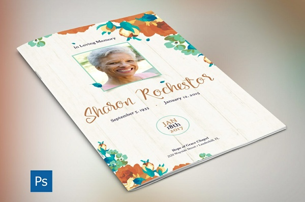 Autumn Floral Funeral Program Template